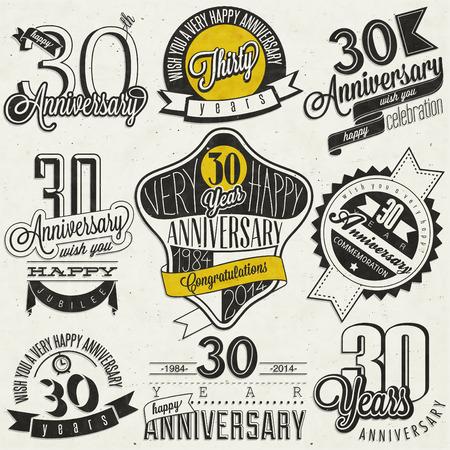 Vintage-Stil 30 Jubiläumskollektion Dreißig Jahrestag Design im Retro-Stil Vintage Etiketten für Jubiläumsgruß Hand Schriftzug Stil typografische und kalligraphische Zeichen für 30 jähriges Bestehen