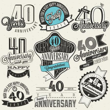 aniversario de bodas: Estilo vintage colecci�n 40 aniversario cuarenta aniversario en el dise�o Vintage etiquetas de estilo retro para el estilo de las letras de la mano saludo aniversario s�mbolos tipogr�ficos y caligr�ficos para el 40 aniversario
