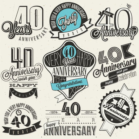 40th: Vintage style 40 anniversary collection  Forty anniversary design in retro style  Vintage labels for anniversary greeting  Hand lettering style typographic and calligraphic symbols for 40 anniversary