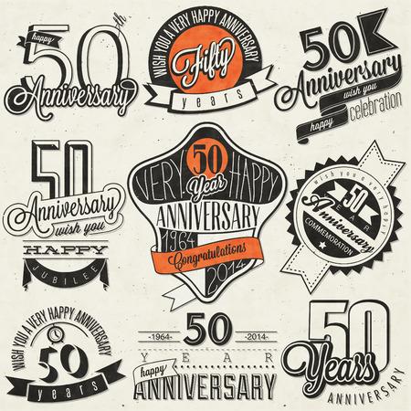 anniversario matrimonio: Stile vintage collection 50 ° anniversario Fifty progettazione anniversario in stile retrò Vintage labels per anniversario saluto a mano in stile lettering simboli tipografici e calligrafici per il 50 ° anniversario