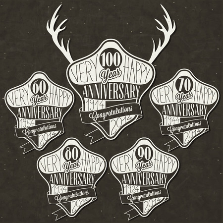 Retro Vintage style anniversary greeting card collection with calligraphic design  Template of anniversary, jubilee or birthday card  Hand Drawn calligraphic and typographic design  Deer silhouette   Illustration