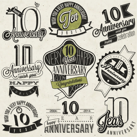 tenth birthday: Vintage style 10 anniversary collection  Ten anniversary design in retro style  Vintage labels for anniversary greeting  Hand lettering style typographic and calligraphic symbols for 10 anniversary
