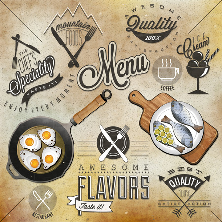 flavour: Retro vintage style restaurant menu designs  Set of Calligraphic titles and symbols for restaurant  Hand lettering restaurant menu design  Orange, melon and apple illustrations  Fast Food  Vector  Illustration