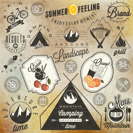 Retro vintage style symbols for Mountain Expedition  Adventure, Camping, Foods, Grill, Biking  Mountain feeling  Summer feeling  Vector  Symbols for mountain and summer background   Vector