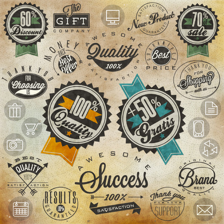 Set of symbols for Best Quality, Original Brand, New Product, Money Back  Thank you for choosing us, for your support, for shopping with us  Retro vintage style, hand lettering  Vector