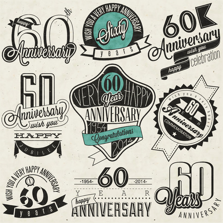 60th: Vintage style 60th anniversary collection Sixty anniversary design in retro style  Vintage labels for anniversary greeting  Hand lettering style typographic and calligraphic anniversary symbols  Illustration