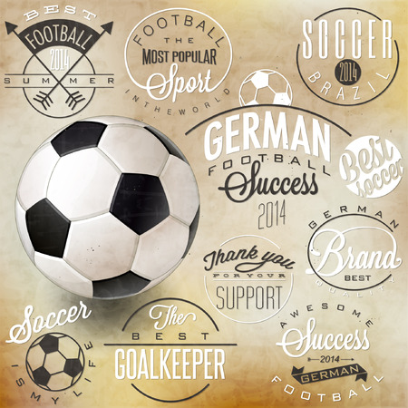 premier: Retro vintage style soccer emblem collection. Set of Calligraphic titles and symbols for football. Hand lettering soccer slogans. One realistic vector illustrated Soccer Ball. Illustration