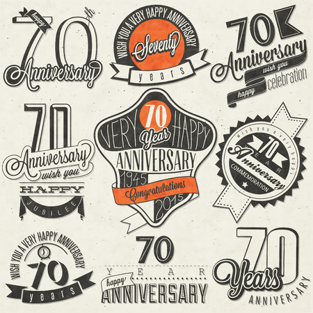 seventieth: Vintage style Seventy anniversary collection. Retro Seventy anniversary design. Vintage labels for anniversary greeting. Hand lettering style typographic and calligraphic symbols for Seventieth