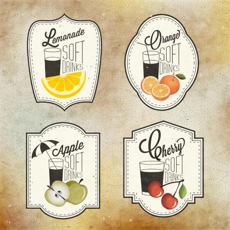 Retro Vintage-Stil Soft Drinks Design. Set Kalli Titel und Symbole für Obst-Design. Handgezeichnete Stil. Orange, Apfel und Kirsche und Zitrone Abbildungen. Obst Weinlese-Aufkleber