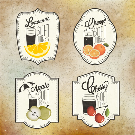 Retro vintage style Soft Drinks design. Set of Calligraphic titles and symbols for Fruit design. Hand-drawn style. Orange, Apple and Cherry and Lemon illustrations. Fruit Vintage Labels Ilustracja