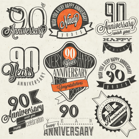 ninety: Vintage style ninetieth anniversary collection. Ninety anniversary design in retro style. Vintage labels for anniversary greeting. Hand lettering style typographic and calligraphic design elements