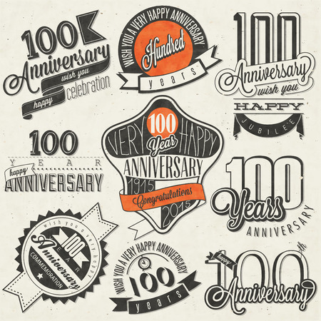 1 year anniversary: Vintage style One Hundred anniversary collection. Retro Hundred anniversary design. Vintage labels for anniversary greeting. Hand lettering style typographic and calligraphic symbols for Centenary