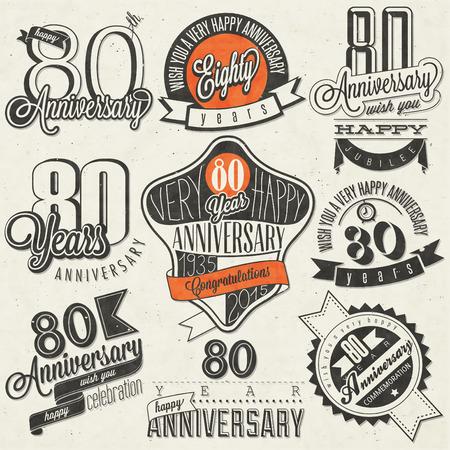 ochenta: Estilo vintage colecci�n 80 aniversario. Dise�o aniversario ochenta en estilo retro. Etiquetas de la vendimia para el saludo de aniversario. Mano estilo de letra tipogr�fica y s�mbolos caligr�ficos de aniversario