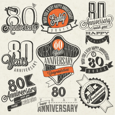 80th: Vintage style 80th anniversary collection. Eighty anniversary design in retro style. Vintage labels for anniversary greeting. Hand lettering style typographic and calligraphic symbols for anniversary