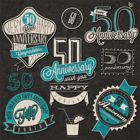 fifty: Vintage style 50 anniversary collection. Fifty anniversary design in retro style. Vintage labels for anniversary greeting. Hand lettering style typographic and calligraphic symbols for 50 anniversary. Illustration