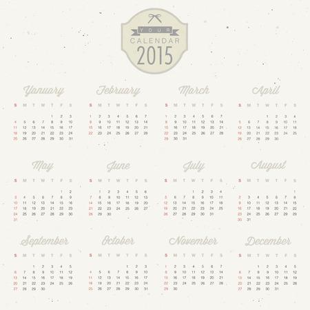 Vector Abstract Calendar 2015 Retro Vintage Style Colorful Calendar