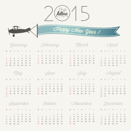 Vector abstract calendar 2015 Retro vintage style calendar design with airplane cartoon illustration. Template for 2015 calendar