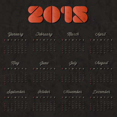 Vector abstract calendar 2015 Retro vintage style calendar design. Template for 2015 calendar