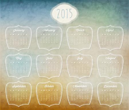 Retro Vintage Style Calendar Design Vector Calendar 2014 Royalty