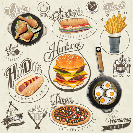 food icons: Retro vintage style fast food designs. Set of Calligraphic titles and symbols for foods. Pizza, Sandwich, Hot Dog, French Fries, Hamburger, Cheeseburger and Drumstick realistic illustrations.