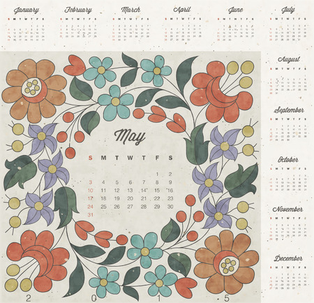 Retro vintage style calendar design. Vector calendar 2015. Hungarian traditional flowers decoration. Vintage style flower elements. Flowers