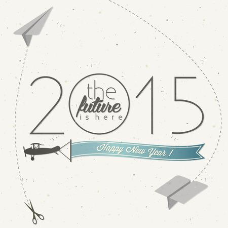 Silvester-Karte. Retro Cartoon-Stil Neujahrsgrüße Abbildung. Silvester Grußkarte. Frohes neues Jahr 2015 Vintage style typografischen und kalligraphische Zeichen für neue Jahre ewe Kartenentwurf. Standard-Bild - 34276115