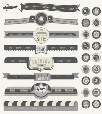 Website headers and navigation elements. Universal icons. Creative tool tips for retro vintage web design. Illustration