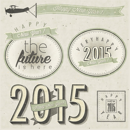 New Year\'s Eve Card. Retro cartoon style New Year greetings illustration. Happy new Year 2015. Vintage style typographic and calligraphic symbols for new years ewe card design.