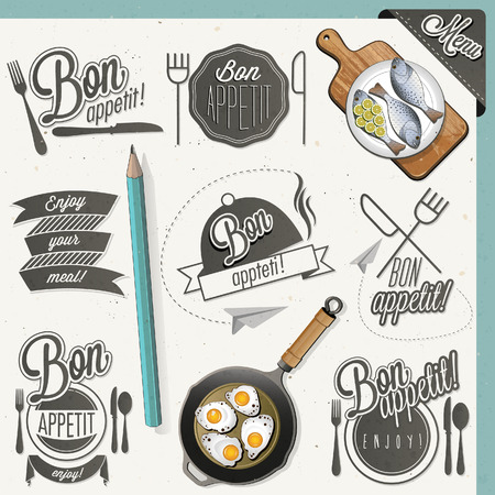Bon Appetit! Enjoy your meal! Retro vintage style hand drawn typographic symbols for restaurant menu design. Set of Calligraphic titles and symbols. Fast food. Meal lettering collection. Vettoriali