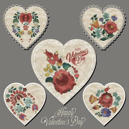 Happy Valentines Day. Hungarian traditional flowers decoration. Heart designs with colorful flowers.