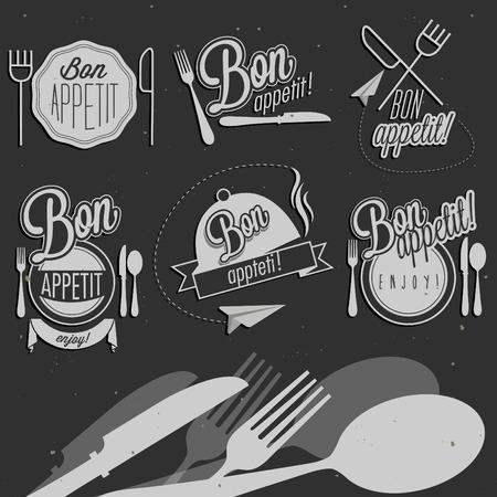ボナペティ!お食事をお楽しみください !レトロなビンテージ スタイル手のレストラン メニュー デザインのタイポグラフィのシンボルを描画します  イラスト・ベクター素材