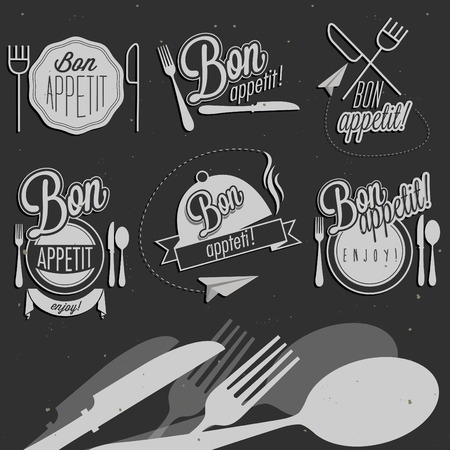 meals: Bon Appetit! Enjoy your meal! Retro vintage style hand drawn typographic symbols for restaurant menu design. Set of Calligraphic titles and symbols. Fast food. Meal lettering collection. Illustration