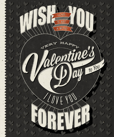 Happy Valentines Day lettering in vintage styled design. Retro greeting card for Valentines day. Valentines vintage typographic design. Vector