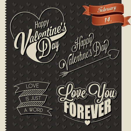 Happy Valentine\'s Day lettering in vintage styled design. Retro greeting card for Valentine\'s day. Valentine\'s vintage typographic design.