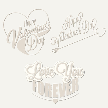 Happy Valentines Day lettering in vintage styled design.Retro greeting card for Valentines day. Valentines vintage typographic design. Vector