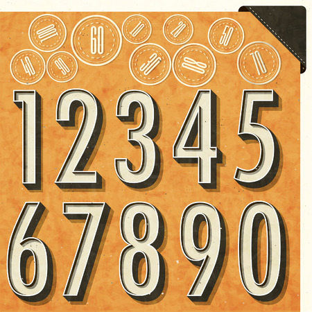 Retro number design. Editable numbers in new vintage style. Vector typography