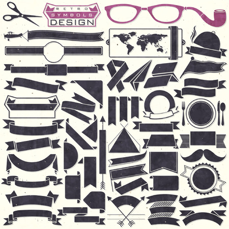 design objects: Black and white ribbons collection. Set of Retro vintage style template for all design. Objects silhouettes. Vector illustrations.