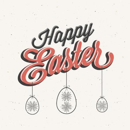 Fröhliche Ostern! Vintage-Stil Ostern Grußkarte. Retro Ostern-Postkarte. Handschriftstil Titel. Kalligraphische Zeichen für Ostern. Grunge Textur. Retro Cartoon-Stil Ostergrüße Abbildung.