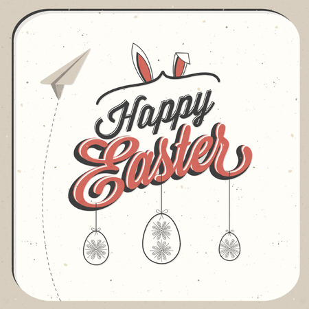Happy Easter! Vintage style Easter greeting card. Retro Easter postcard. Hand lettering style Title. Calligraphic symbol for Easter. Grunge texture. Retro cartoon style Easter greetings illustration. 矢量图像