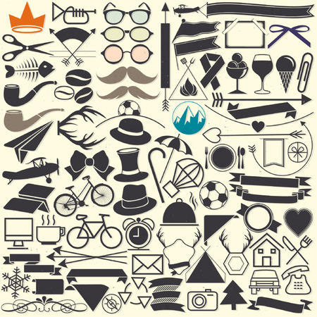 Vector illustrations. Hipster style. Object collection for all design. Minimal symbols for everyday objects. Pictogram and icons collection. Vintage style objects silhouettes. Illustration