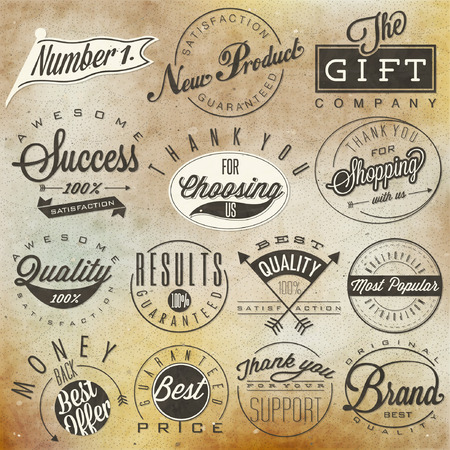 quality icon: Set of symbols for Best Quality, Original Brand, New Product, Money Back. Thank you for choosing us, for your support, for shopping with us. Retro vintage style, hand lettering typographic symbols.