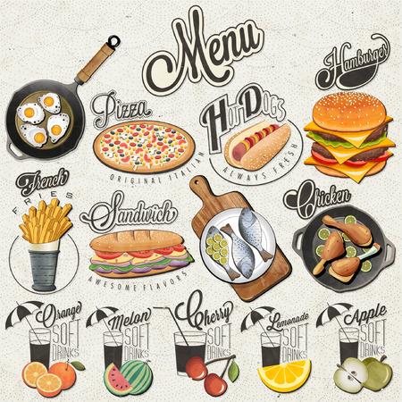 食べ物: レトロなビンテージ スタイルのファーストフードやドリンクのデザイン。カリグラフィのタイトルと食べ物や飲み物のための記号のセットです。リアルなイラスト