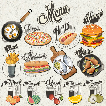 food: 레트로 빈티지 스타일의 패스트 푸드 및 음료 디자인. 붓글씨 제목과 음식과 음료 기호 집합입니다. 현실적인 그림. 크리 에이 티브 벡터. 일러스트