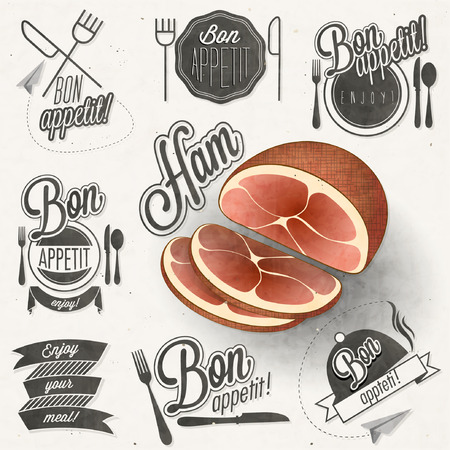 bon: Bon Appetit! Enjoy your meal! Retro vintage style hand drawn typographic symbols for restaurant menu design. Set of Calligraphic titles and symbols. Ham realistic illustration