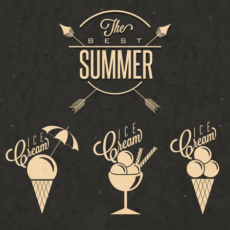 Retro vintage style Ice Cream design. Set of Calligraphic titles and symbols for Ice Cream type. Hand lettering style. Illustrations for dessert menu and other food designs.