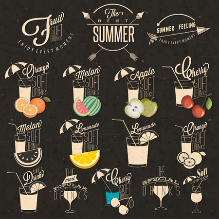 consume: Retro vintage style Soft Drinks design. Set of Calligraphic titles and symbols for Fruit Drinks type. Hand lettering style. Orange, Melon, Apple and Cherry illustrations. Typographic. Vector