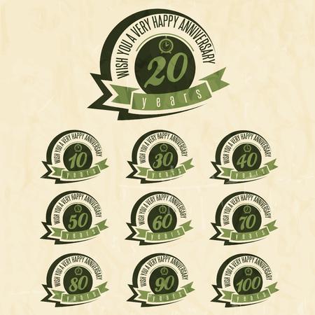 Jahrestag Schild-Sammlung und Karten-Design im Retro-Stil. Vorlage des Jahrestages, Jubiläum oder Geburtstagskarte mit der Nummer editierbar. Vintage-Vektor-Typografie. Image