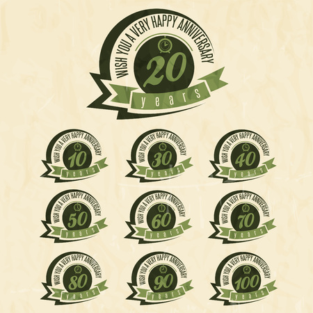 Anniversary sign collection and cards design in retro style. Template of anniversary, jubilee or birthday card with number editable. Vintage vector typography.  Image
