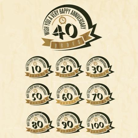 Anniversary sign collection and cards design in retro style. Template of anniversary, jubilee or birthday card with number editable. Vintage vector typography.  Image 免版税图像 - 61042236