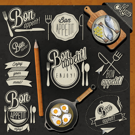 food illustration: Enjoy your meal! Retro vintage style hand drawn typographic symbols for restaurant menu design. Set of Calligraphic titles and symbols. Fast food. Meal lettering collection.